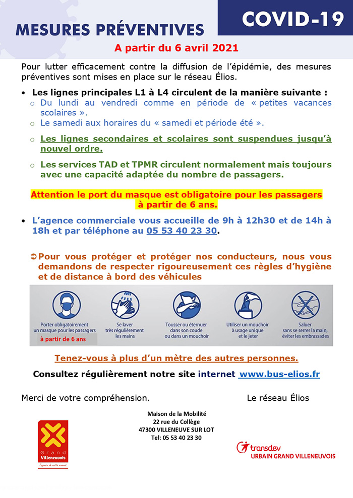 Mesures préventives Elios avril 2021